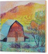 Dyeleaf Mountain Barn Sunrise Wood Print