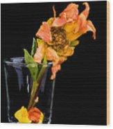 Dying Dahlia Flower Wood Print