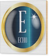 E For Echo Wood Print