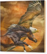 Eagle And Horse - Spirits Of The Wind Wood Print