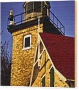 Eagle Bluff Lighthouse Of Door County Wood Print by Mark David Zahn