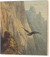 Eagle Circling Before A Cliff Face Wood Print