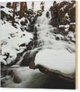 Eagle Falls Raging On Ice Wood Print