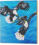 Eagle Fight Wood Print