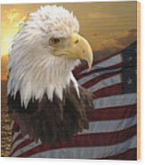 Eagle Flag I Wood Print