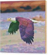Eagle In Air Wood Print