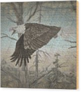 Eagle  In Forest Wood Print