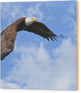 Eagle In The Clouds Wood Print