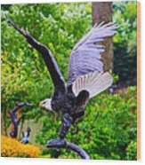 Eagle In The Garden Wood Print