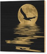 Eagle In The Moonlight Wood Print