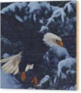 Eagle In The Storm Wood Print