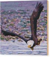 Eagle On A Mission Wood Print