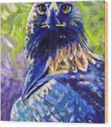 Eagle On Alert Wood Print