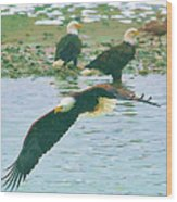 Eagle Over The River Wood Print