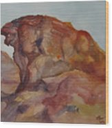 Eagle Rock In Valley Of Fire Wood Print