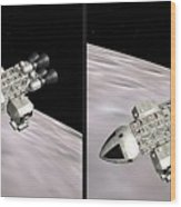Eagle Shuttle - Gently Cross Your Eyes And Focus On The Middle Image Wood Print