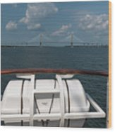 Eagle View Of Ravenel Bridge Wood Print