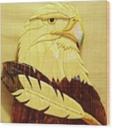 Eaglehead With Two Feathers Wood Print