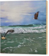 Eagles At Sea Wildlife Art Wood Print