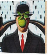 Ear Smoking Apple Guy Standing In The Man Rain Wood Print