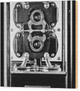 Early 1900s Type Cs Watthour Meter In Black And White Wood Print