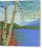 Early Autumn Birches Wood Print