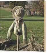 Early Autumn Scarecrow Wood Print