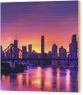 Early Brisbane Sunset With Purple And Yellow Sky Wood Print