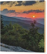 Blue Ridge Parkway Sunrise - Beacon Heights - North Carolina Wood Print