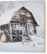 Early December Snowfall Morning Wood Print