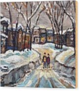 Original Montreal Paintings For Sale Winter Walk After The Snowfall Exceptional Canadian Art Spandau Wood Print