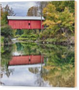 Early Fall Colors Surround A Covered Bridge In Vermont Wood Print