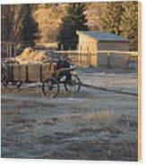 Early Farm Wagon Wood Print