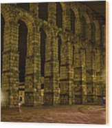 Early Morning At The Aqueduct Of Segovia Wood Print