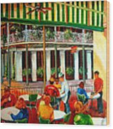Early Morning At The Cafe Du Monde Wood Print