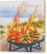 Early Morning Beach Bonfire Wood Print