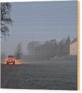 Early Morning Car Lights Wood Print