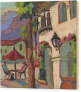 Early Morning Coffee At Old Town La Quinta Wood Print