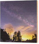 Early Morning Colorful Colorado Milky Way View Wood Print