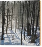 Early Morning Fog In A New Hampshire Forest Wood Print