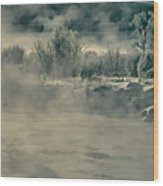 Early Morning Frost On The River Wood Print