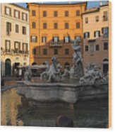 Early Morning Glow - Neptune Fountain On Piazza Navona In Rome Italy Wood Print