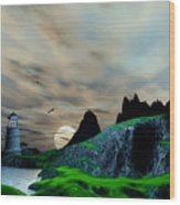Early Morning Ocean Lighthouse Scene Wood Print