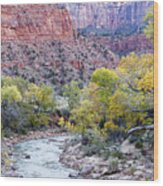 Early Morning On The Virgin River Wood Print