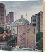 Early Morning Panorama Of Downtown San Antonio Skyline And Architecture - Bexar County Texas Wood Print
