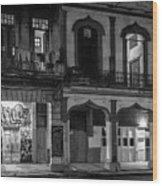Early Morning Paseo Del Prado Havana Cuba Bw Wood Print