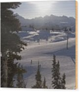 Early Morning Skiing Wood Print by Taylor S. Kennedy