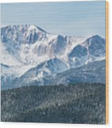 Early Morning Snow On Pikes Peak Wood Print