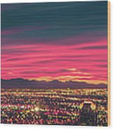 Early Morning Sunrise Over Valley Of Fire And Las Vegas Wood Print
