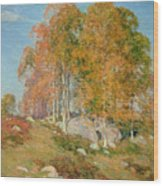 Early October Wood Print by Willard Leroy Metcalf